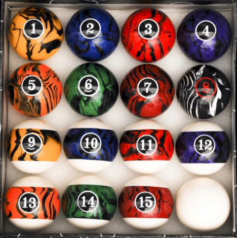 Case of 6 - Dark Color Marble  Swirl Style Pool Table Ball Sets